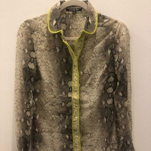 Snake print blouse with neon detail